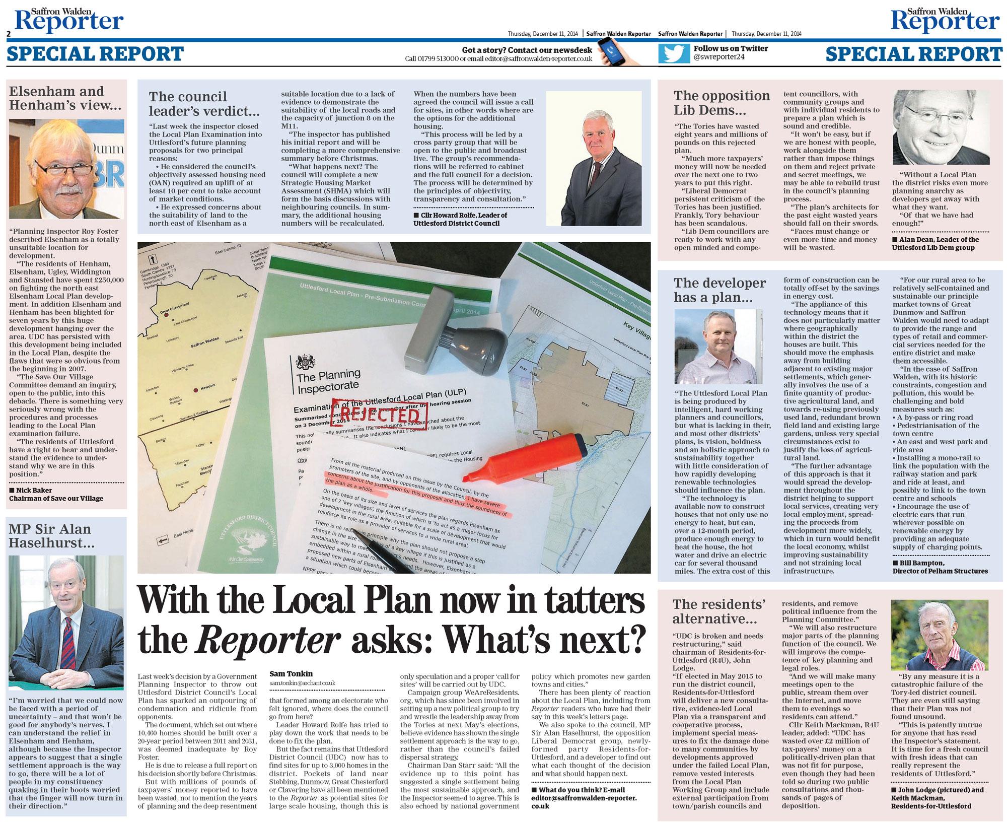Uttlesford Local Plan Refusal: Saffron Walden Reporter coverage (11-Dec-2014)