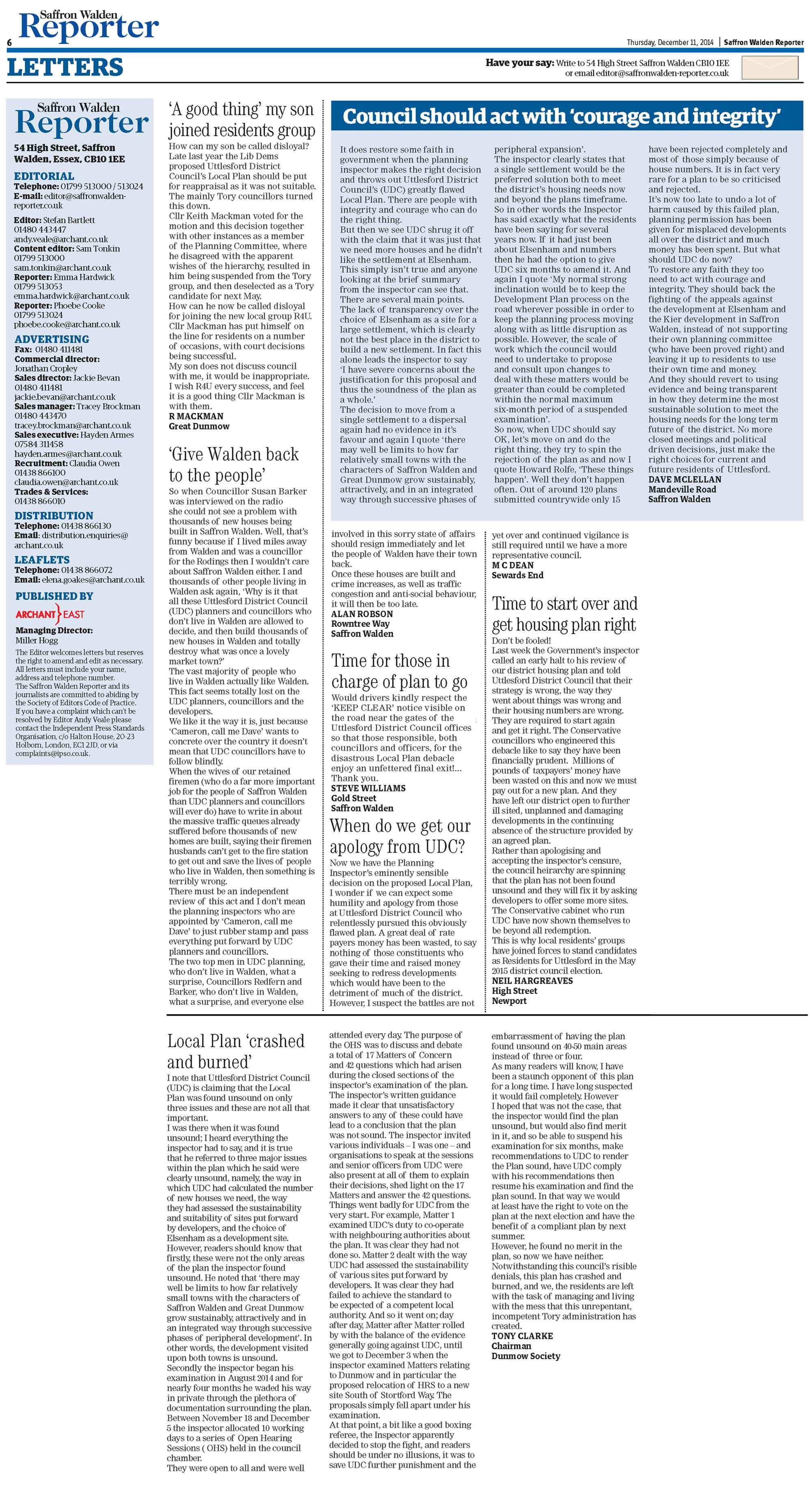 Uttlesford Local Plan Refusal: Saffron Walden Reporter letters (11-Dec-2014)