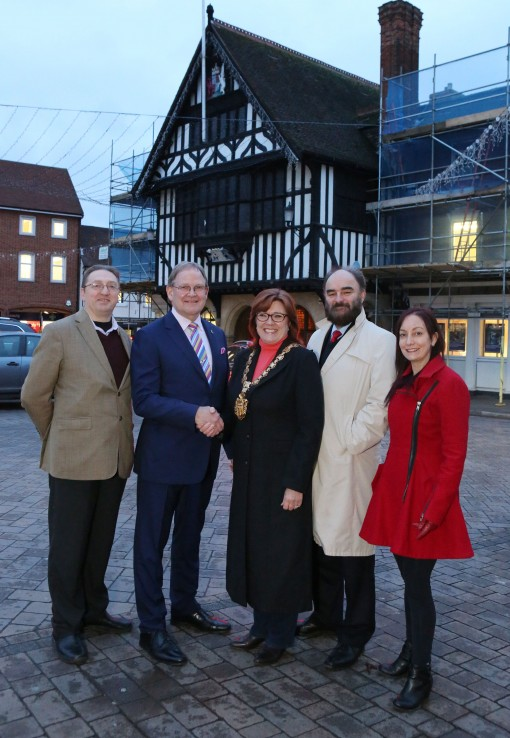 Steve Cass, Alan Caldwell, The Mayor of Saffron Walden, Paul Fairhurst and Shara Vickers launching SWXpo2016. A business fair due to take place at the Town Hall on February 12th & 13th 2016. ©Gareth Davies @SnapmediaPro Creative Director Snap Media Productions 6a Emson Close Saffron Walden Essex CB113bH
