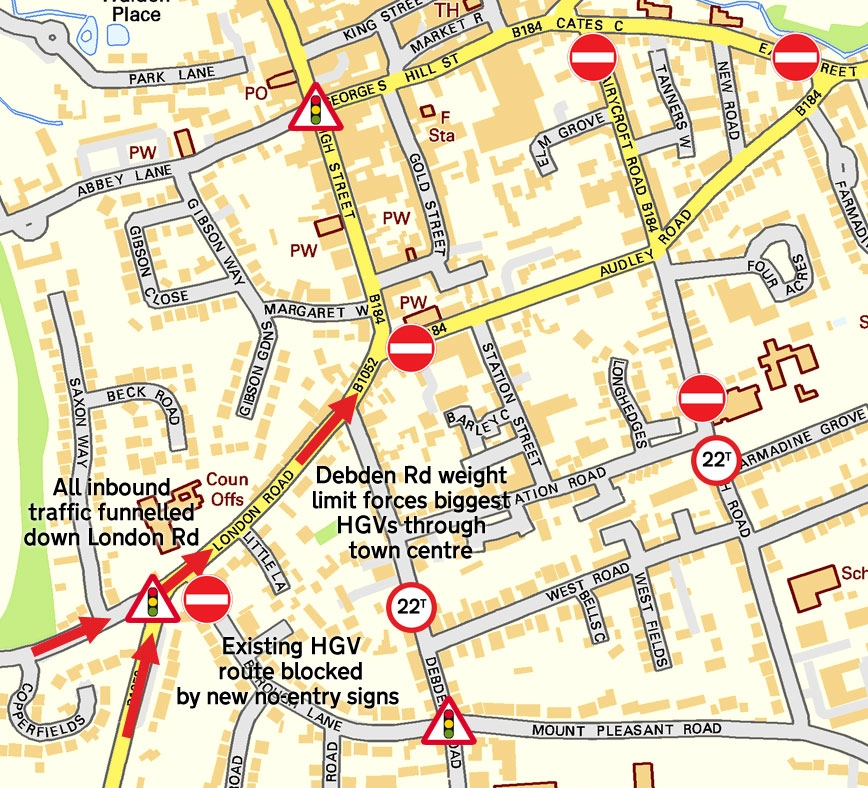 saffron walden street map with road signs 2